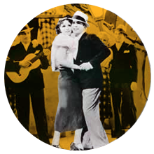 Vals (Old black and white photo showing Carlos Gardel dancing)